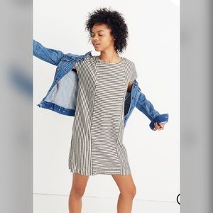 Made well Stripe-Play Button-Back Tee Dress